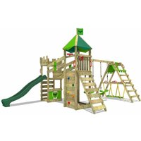 FATMOOSE Wooden climbing frame RiverRun with swing set SurfSwing and green slide, Knights playhouse with sandpit, climbing ladder and play-accessories