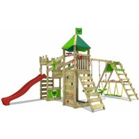 MEGA-SALE Wooden climbing frame RiverRun with swing set SurfSwing and red slide, Knights playhouse with sandpit, climbing ladder and play-accessories