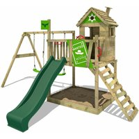 Wooden climbing frame RockyRanch with swing set and green slide, Playhouse on stilts for kids with sandpit, climbing ladder and play-accessories