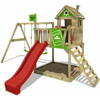 Wooden climbing frame RockyRanch with swing set and red slide, Playhouse on stilts for kids with sandpit, climbing ladder and play-accessories