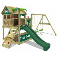FATMOOSE Wooden climbing frame TikaTaka with swing set and green slide, Playhouse on stilts for kids with sandpit, climbing ladder and play-accessories