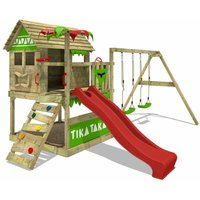 FATMOOSE Wooden climbing frame TikaTaka with swing set and red slide, Playhouse on stilts for kids with sandpit, climbing ladder and play-accessories