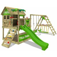 FATMOOSE Wooden climbing frame TikaTaka with swing set SurfSwing and apple green slide, Playhouse on stilts for kids with sandpit, climbing ladder and