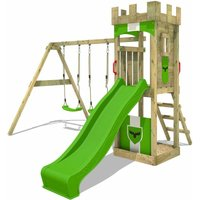 Wooden climbing frame TreasureTower with swing set and apple green slide, Garden playhouse with sandpit, climbing ladder and play-accessories - Fatmoose