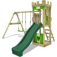 Wooden climbing frame TreasureTower with swing set and green slide, Garden playhouse with sandpit, climbing ladder and play-accessories - Fatmoose