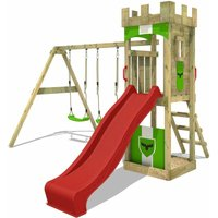 Wooden climbing frame TreasureTower with swing set and red slide, Garden playhouse with sandpit, climbing ladder and play-accessories - Fatmoose