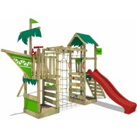 Wooden climbing frame WaterWorld with swing set and red slide, Playhouse on stilts for kids with sandpit, climbing ladder and play-accessories