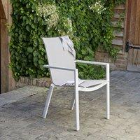 Bois Dessus Bois Dessous - Fauteuil de jardin en aluminium blanc et textilène gris