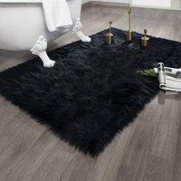 Faux Fur Area Rug for Bedroom Bedside Living Room Home Decro Carpet with 8 PCS Washable Rug Gripper (2x3ft/60x90CM, Black)