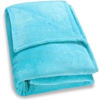 Deuba - Faux Fur Throws Fleece Blanket Soft Sofa Bed Large King Size Warm Double Cover 220x240 - light blue