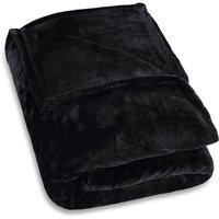 Deuba - Faux Fur Throws Fleece Blanket Soft Sofa Bed Large King Size Warm Double Cover 220x240 - black