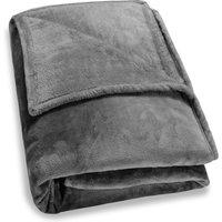 Deuba - Faux Fur Throws Fleece Blanket Soft Sofa Bed Large King Size Warm Double Cover 220x240 - dark grey