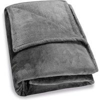 Deuba - Faux Fur Throws Fleece Blanket Soft Sofa Bed Large King Size Warm Double Cover 200x150cm - dark grey