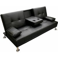 Faux Leather Folding Sofa Bed With Cup Holders Cinema Style - Black