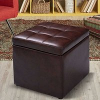 Costway - Faux Leather Ottoman Pouffe Storage Toy Box Foot Stools Bench Seat Brown