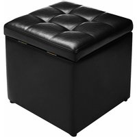 Costway - Faux Leather Ottoman Pouffe Storage Toy Box Foot Stools Bench Seat Black