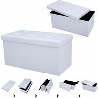 Faux Leather Ottoman Pouffe Storage Toy Box Foot Stools 2 Seater Bench Seat White - COSTWAY