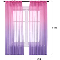 Asupermall - Faux Linen Ombre Sheer Curtains Voile Semi Sheer Curtains for Bedroom Living Room Set of 2 Curtain Panels