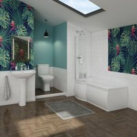 Feel Curved Bathroom Suite with Left Hand P Shape Shower Bath - AQUARISS
