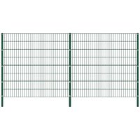 Fence Panel with Posts Iron 3.4x1.6 m Green - VIDAXL