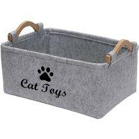 Fiber Soft Felt Dog Storage Basket Bin Organizer - Dog Toy Bin with Wooden Handle- Pet Supplies Storage Basket-Light Grey