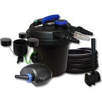 Wiltec - Filtro a pressione per stagni 6000l 11W UVC 10W ECO Pompa 25m Tubo Skimmer Fontana