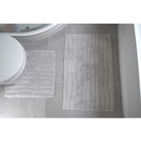 Rapport - Finley Two Piece Ribbed 100% Cotton Bathmat and Pedestal Set Silver