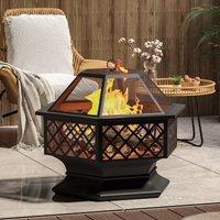 Fire Pit Hexagon Garden Patio Outdoor Firepit Heater Brazier Burner