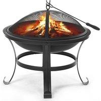 Insma - Fire Pit 56X56X45cm BBQ Brazier Outdoor Garden Heating Fireplace w/BBQ Brill