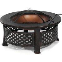 Insma - 3 in 1 Fire Pit Patio BBQ Brazier Garden Fireplace Heater 81X46cm