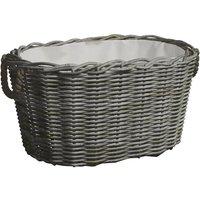 Firewood Basket with Carrying Handles 60x40x28 cm Grey Willow - Grey - Vidaxl