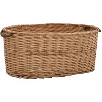 Firewood Basket with Carrying Handles 78x54x34 cm Natural Willow - Brown - Vidaxl