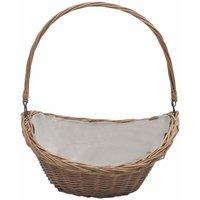 Firewood Basket with Handle 57x46.5x52 cm Brown Willow - VIDAXL