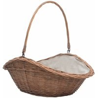 Firewood Basket with Handle 60x44x55 cm Natural Willow - VIDAXL