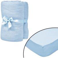 Fitted Sheets for Cots 4 pcs Cotton Jersey 70x140 cm Light Blue - VIDAXL