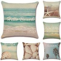 Flamingo Cushion Cover Tropical Plant Beach Pillow Case for Sofa Home Living Room Bedroom Home Decoration, 45x45cm, 6 Piece Set (Beach)