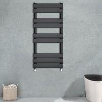 Flat Panel Heated Towel Rail Bathroom Rad Radiator Black 1000x450mm