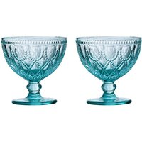 Fleur sundae dishes,blue glass,set of 2 - BIG LIVING