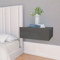 Youthup - Floating Nightstand High Gloss Grey 40x30x15 cm Chipboard