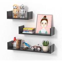 Floating Shelves Set of 3, U-shaped Cube Wall Shelves, Decorative Rack for Kitchen Living Room Bathroom Bedroom (Black)
