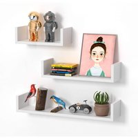 Floating Shelves Set of 3, U-shaped Cube Wall Shelves, Decorative Rack for Kitchen Living Room Bathroom Bedroom (White)