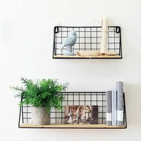 Floating Shelves Wall Mounted Rack Metal Wire Storage Shelf Wall Display Unit for Living Room Office Bedroom Bathroom Kitchen Set of 2 Weight up to