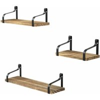 Floating Shelves Wall Mounted Set of 3, Wood Wall Storage Shelves for Bedroom, Living Room, Bathroom, Kitchen and Office