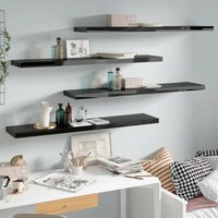 vidaXL Floating Wall Shelves MDF 4 pcs High Gloss Black 120x23.5x3.8 cm - Black