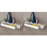 Zqyrlar - Floating Wall Shelves with Drawers 2 pcs White 80 cm - White