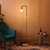 Floor Lamp Geometric Lampshade Solid Marble Base, Rose Gold Pole, Rose Gold Lampshade