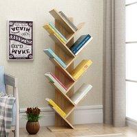 Floor Standing Bookcase Storage Display Bookshelf, Natural-9 Tier
