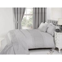 Floral Super King Quilt Duvet Cover and 2 Pillowcase Bed Set Embroidered Silver - RAPPORT