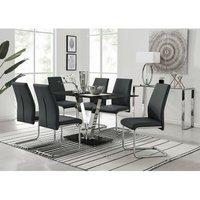 Florini Black Glass And Chrome Metal Dining Table And 6 Blac