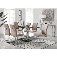Florini Black Glass And Chrome Metal Dining Table And 6 Cappuccino Grey Lorenzo Dining Chairs Set